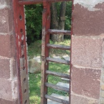 Old-style door that allows the cold to flow through