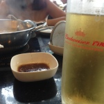Beer and spicy dipping sauce